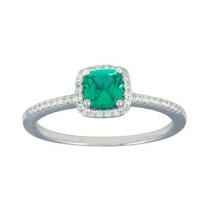 New Square Halo Turquoise CZ Engagement Ring